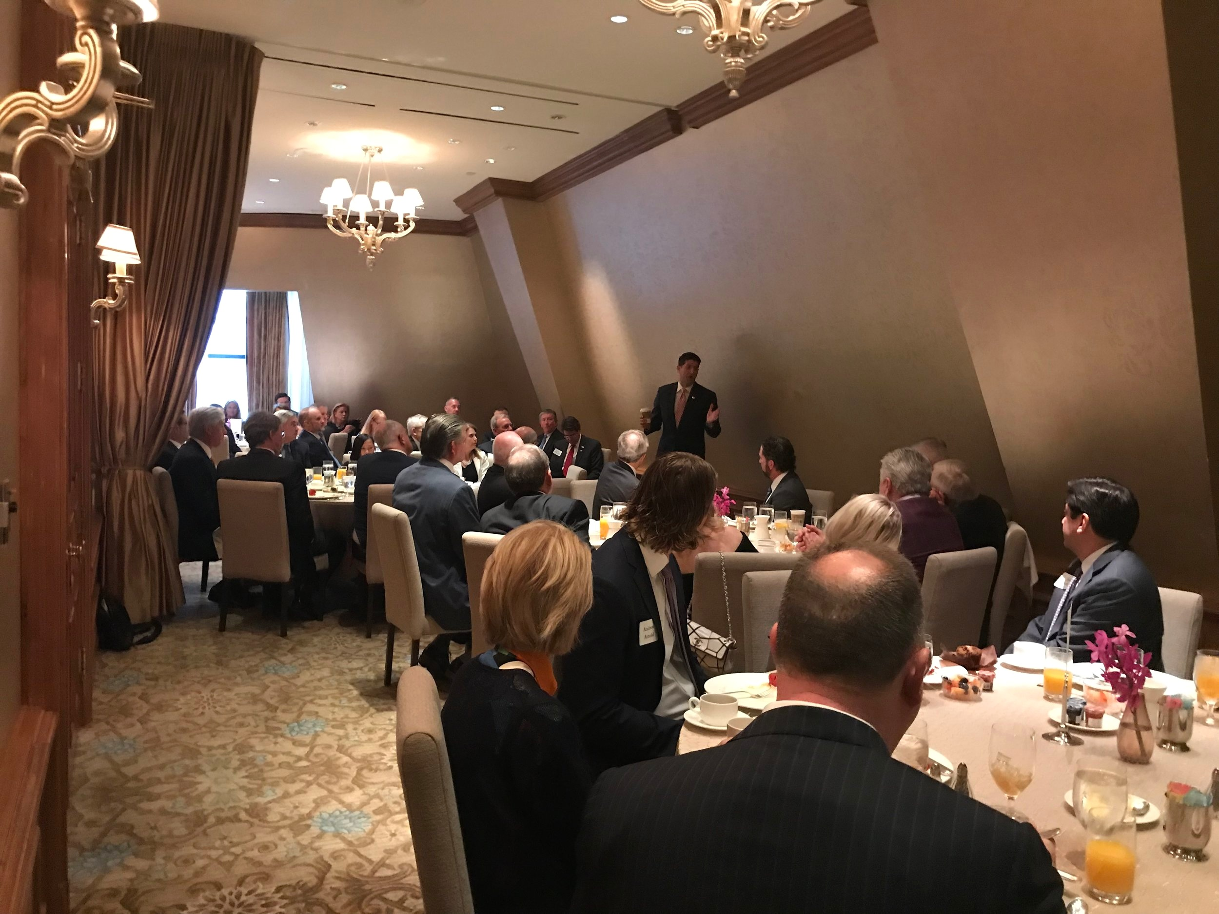 Breakfast fundraiser for Pete Sessions for Congress with Former Speaker Paul Ryan at the Crescent Club in 2018.