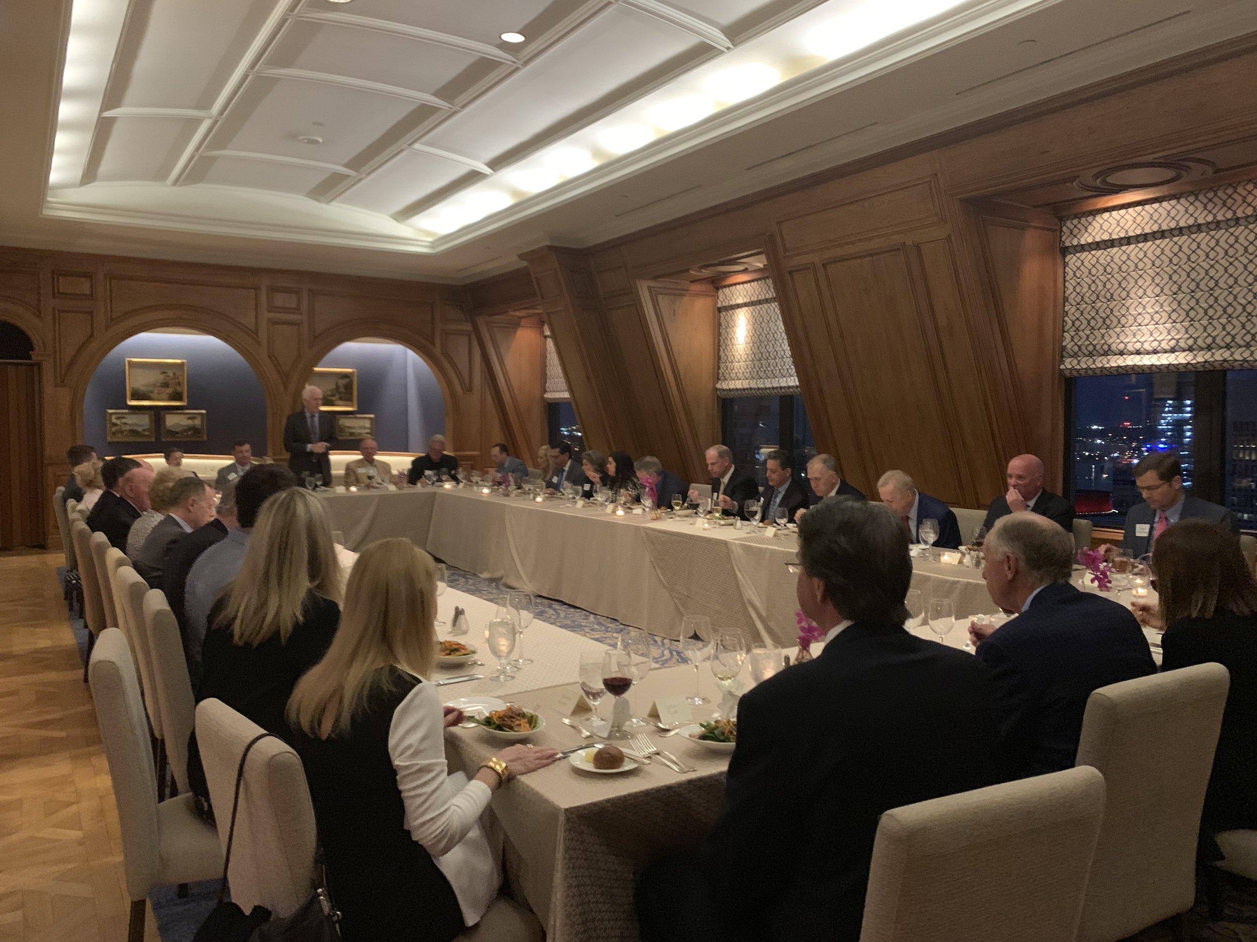 Senator John Cornyn speaks at the Senate Firewall 2020 dinner in 2019.