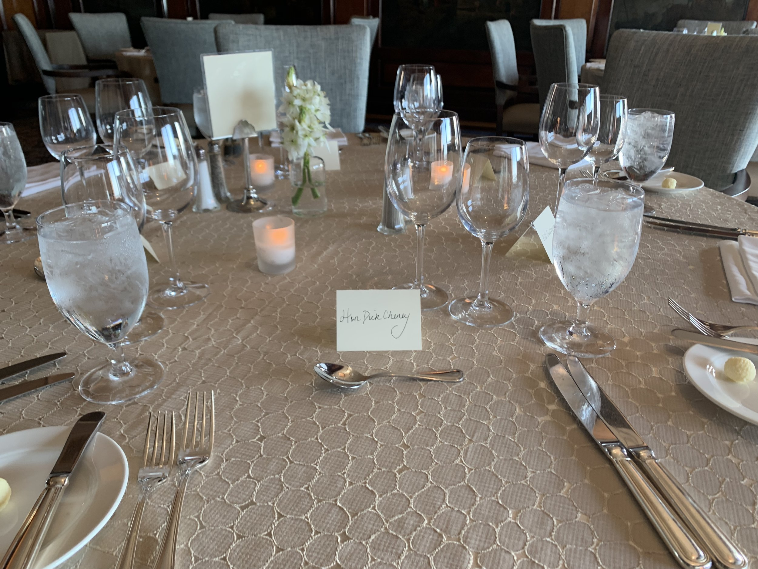 Table set in Dallas for a fundraising dinner supporting Liz Cheney for Wyoming with Vice President Dick Cheney in 2019.