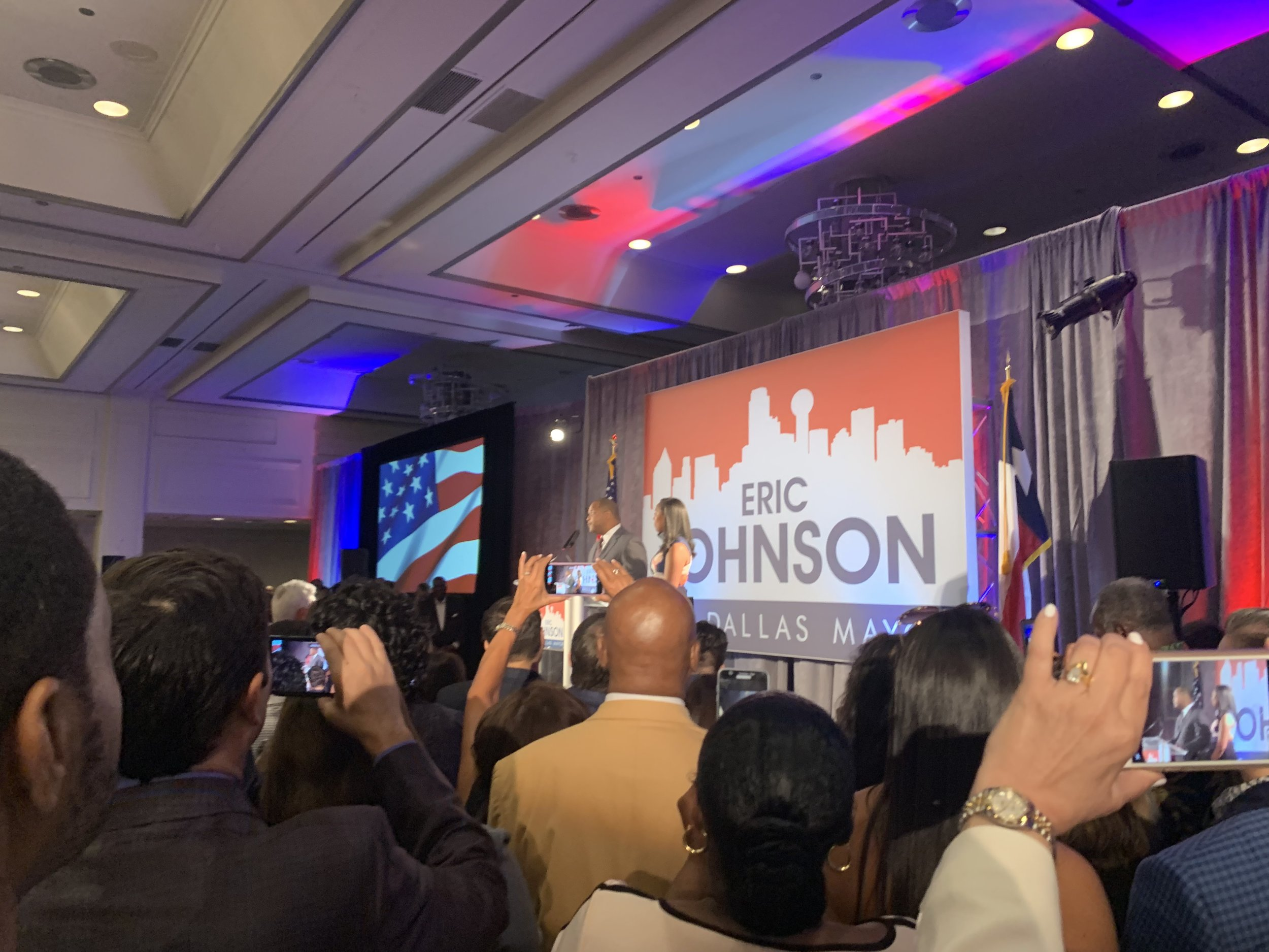 Dallas Mayor Eric Johnson's victory party in 2019.