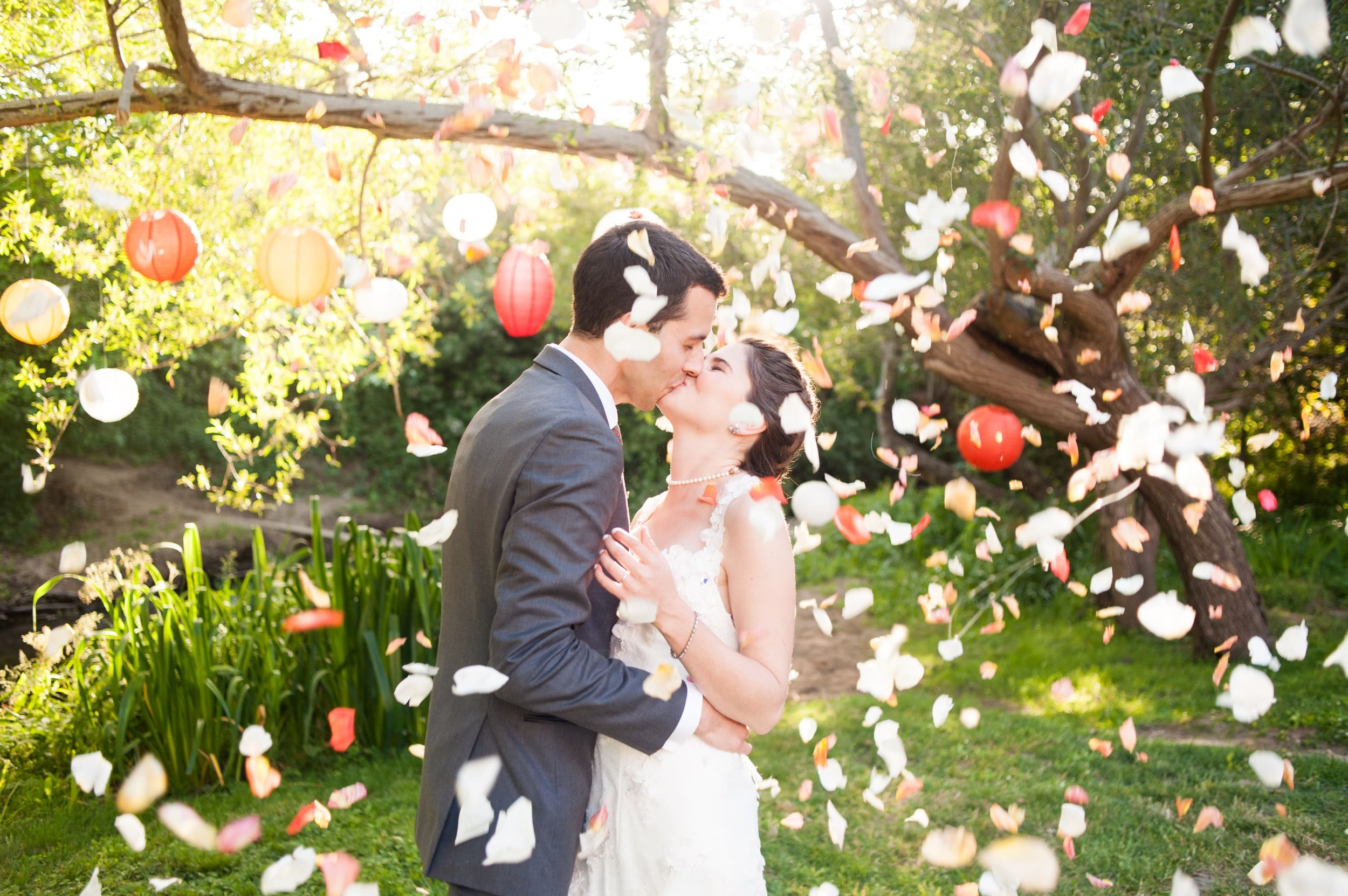 Bride and Groom Kiss underneath shower of flower petals