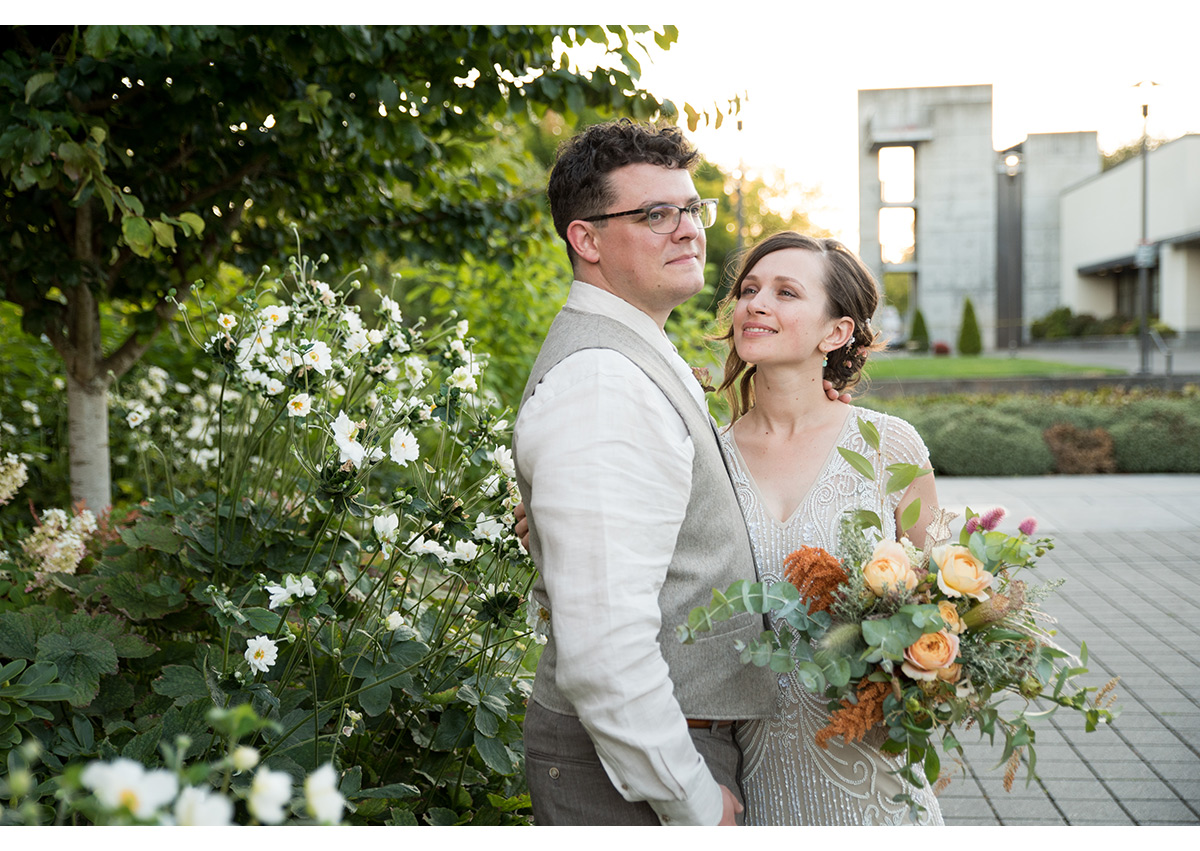Sunset portrait of Bride and Groom in Portland