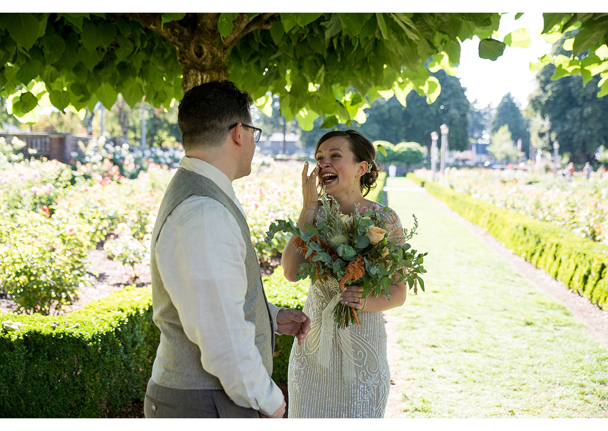 Bride and Groom seeing each other for first time at Peninsula Park