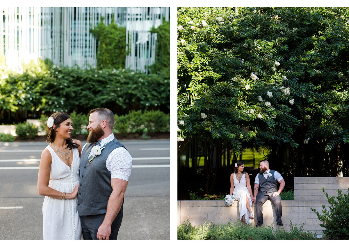 Side by side photos of bride and groom in downtown Portland
