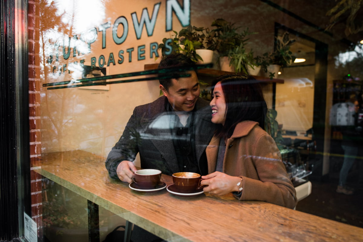 Engagement session at Stumptown Coffee in Portland