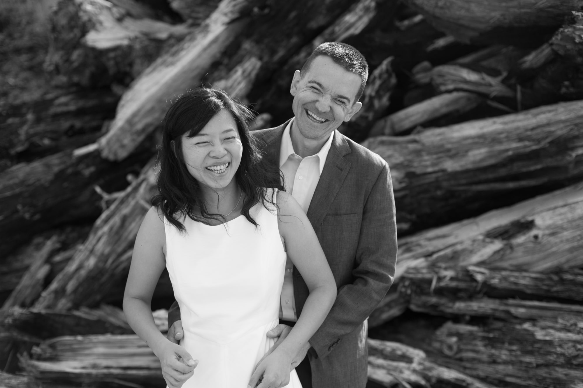 Portrait of Bride and Groom following wedding ceremony at Cannon Beach