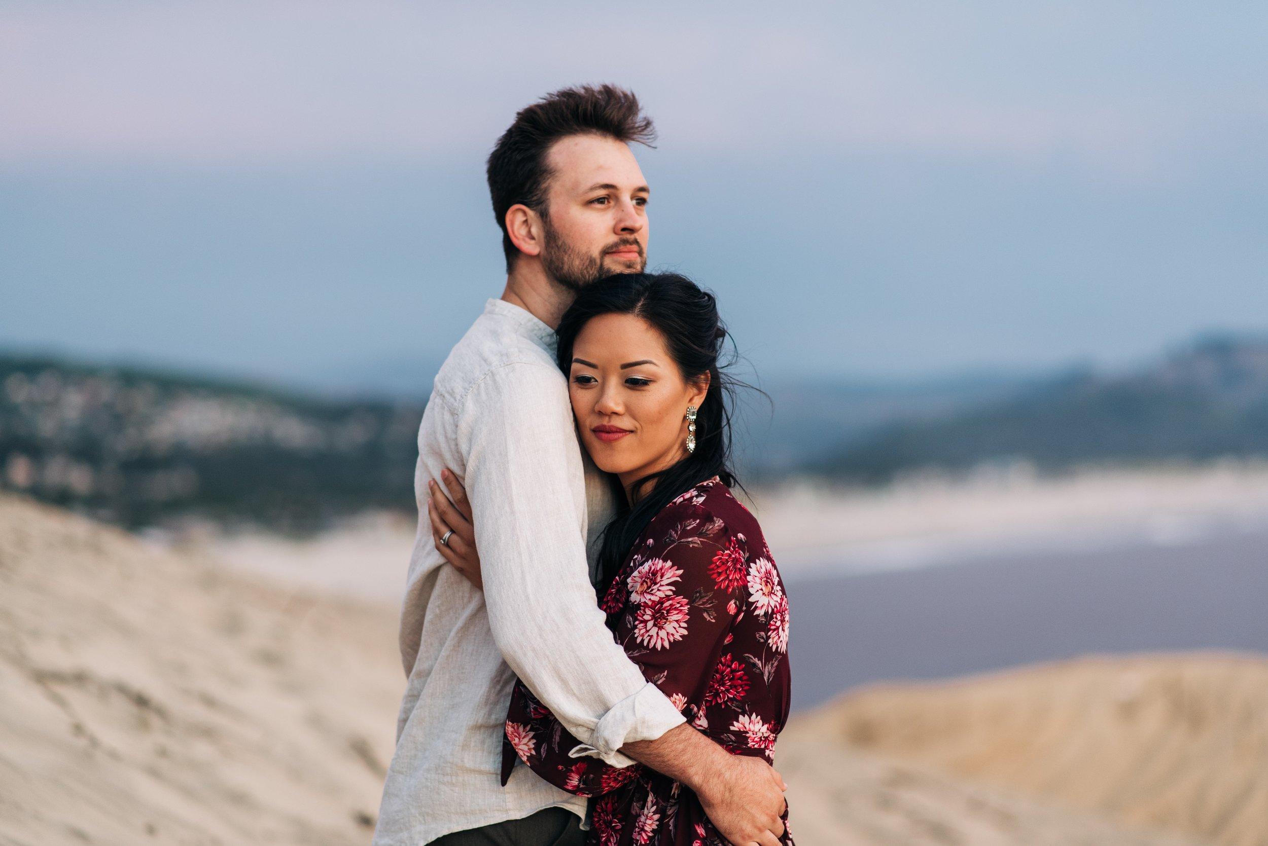Portrait of couple at Cape Kiwanda in Pacific City