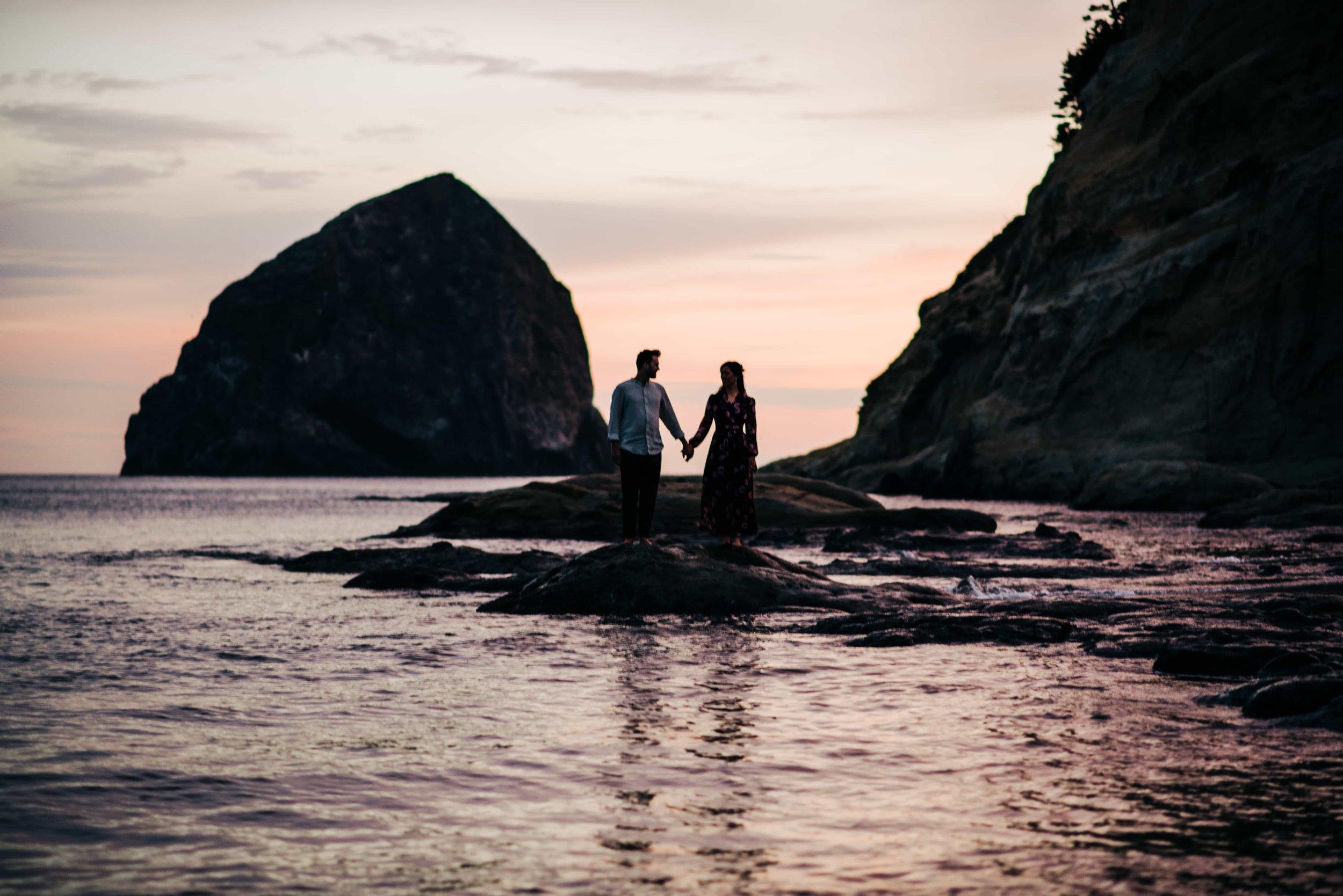 Silhouette of couple at Cape Kiwanda