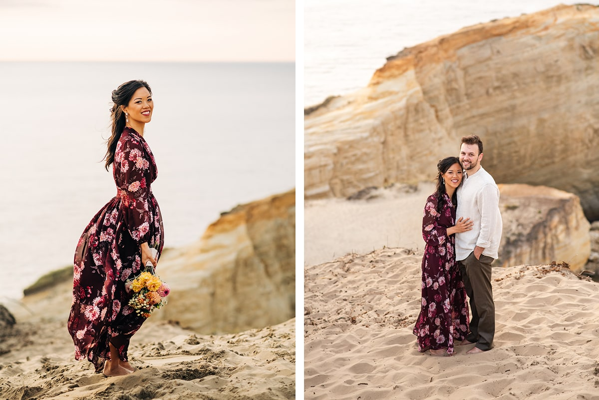 Bride and Groom at Cape Kiwanda in Pacific City