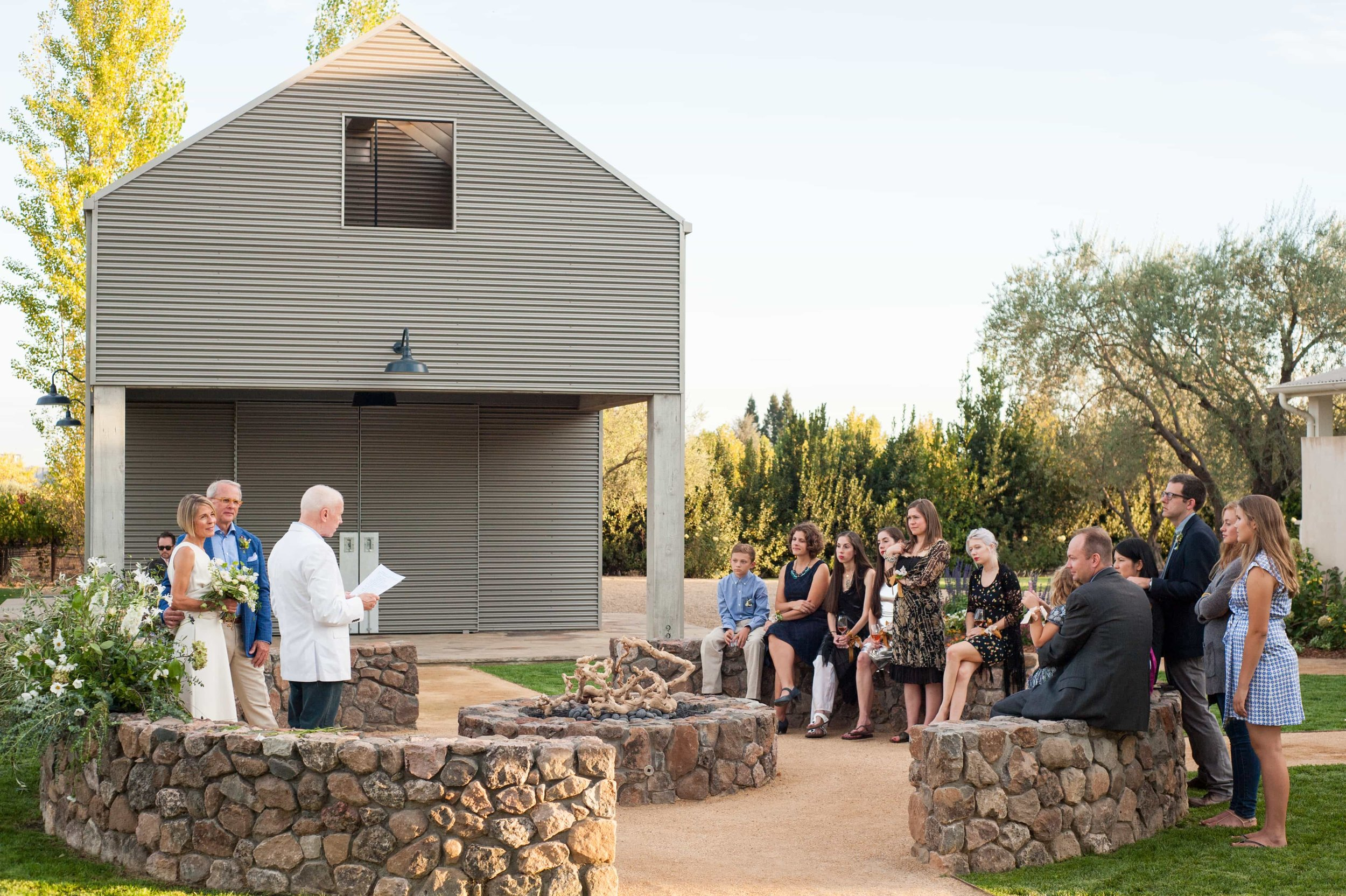Small wedding ceremony in Oregon wine country