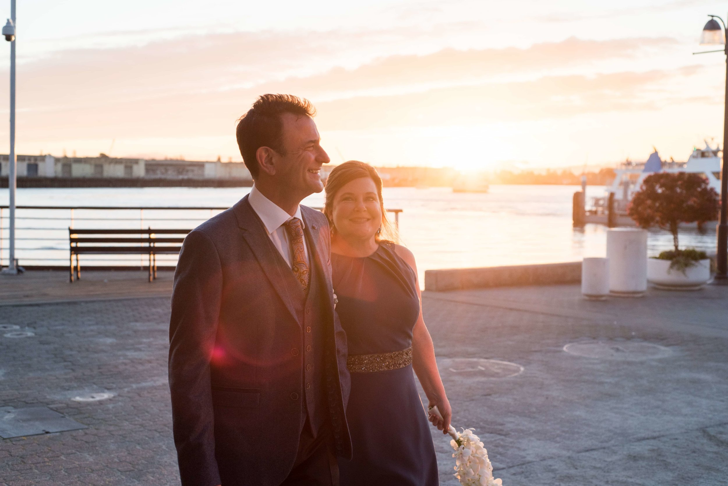 Bride and Groom at sunset in Portland