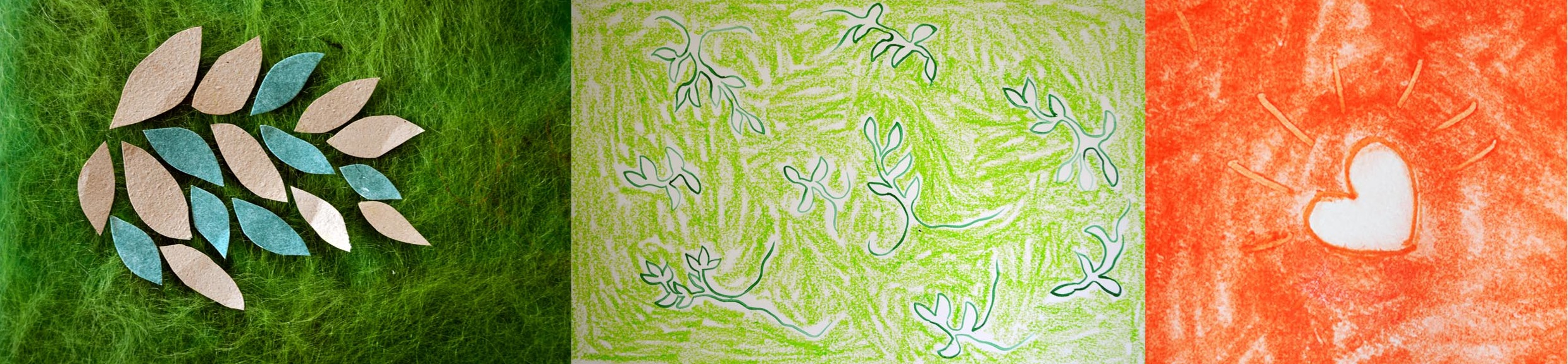 A strip of different artistic images including: 1. P aper collage of green and light brown leaves on green silk paper background. 2. Pastel and pencil drawing of dark and light green and white plants. 3. Orange pastel drawing with a white heart with radiating lines.  © all images by   Natalya Garden-Thompson, 2016
