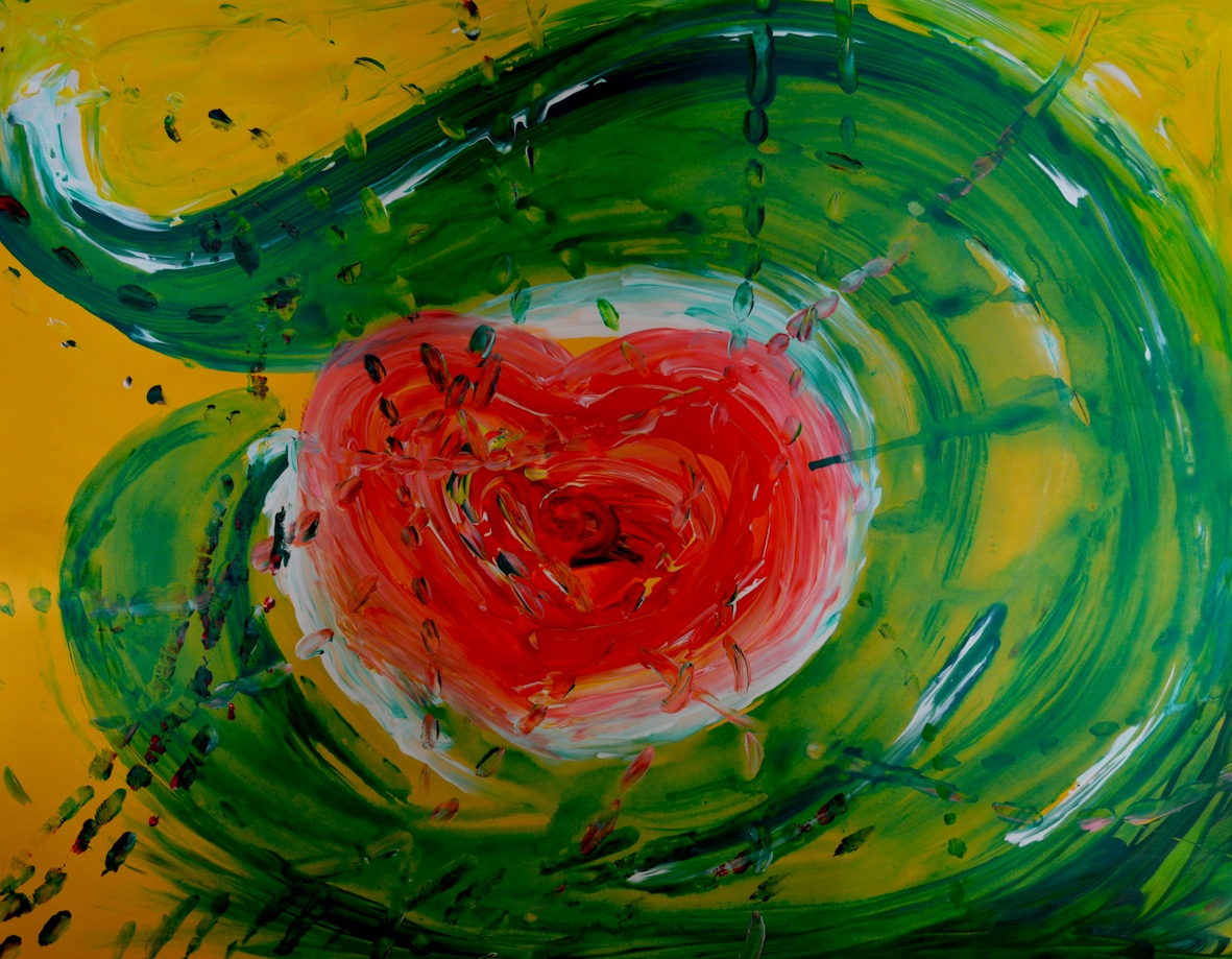 Photograph of painting, red, green, and white paint on yellow background. Finger print trails across image with what appears to be a big heart in the centre with swirling brushstrokes and shapes around. Created while moving to music while attending Shaun McNiff's Masterclass at the ANZATA (Australian New Zealand Arts Therapy Association) Conference   in 2013. © all images by   Natalya Garden-Thompson, 2016
