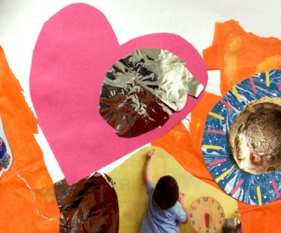 Photographic detail of collage made from magazine images, tissue paper, craft paper and shinny paper including a pink love heart, an open pearl shell, a child drawing on a wall and bits of torn edged orange shapes    © all images by Natalya Garden-Thompson, 2016