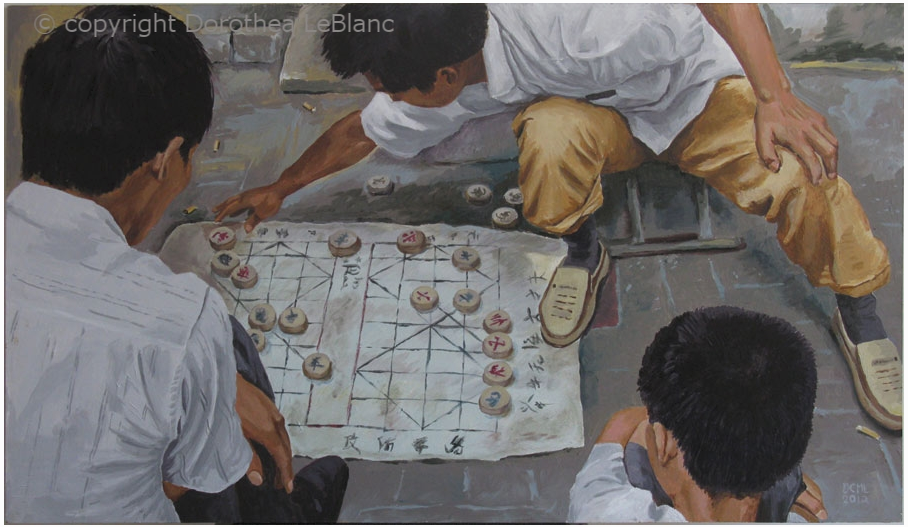 One of my China Paintings. Chinese Chess on the Sidewalk, acrylic on board, 2012
