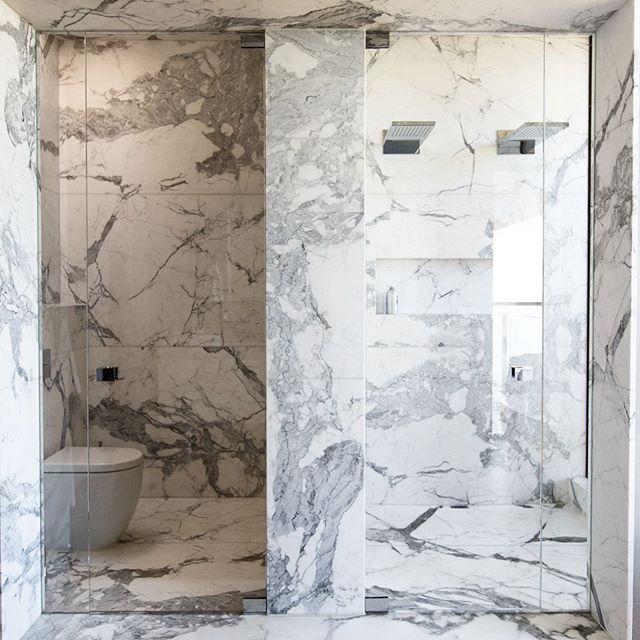 Master Ensuite designed by @powellandglenn built by Lowther #peninsulahouse #interiordesign #bathroomdesign #marble #calacattamarble