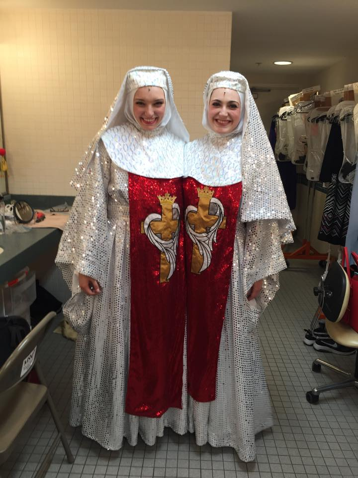 Michaela with friend, Reagan Danel Ogle, in  Sister Act  at MSMT