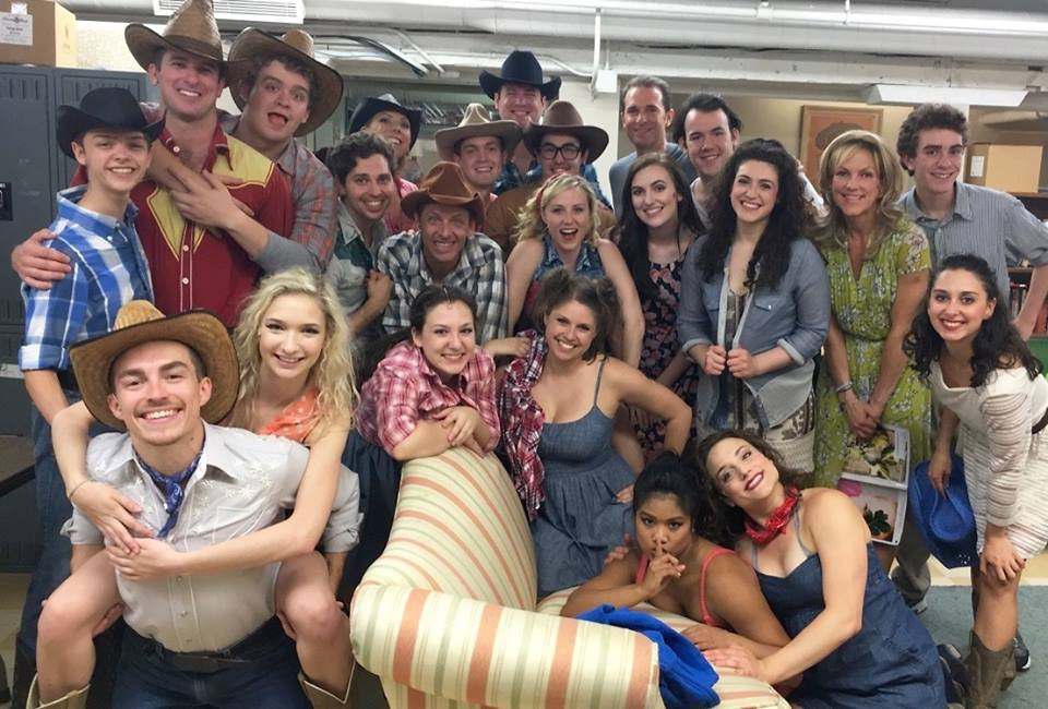 Michaela with the cast of  Footloose  in the green room of the Fulton Opera House Theatre for a #SIP