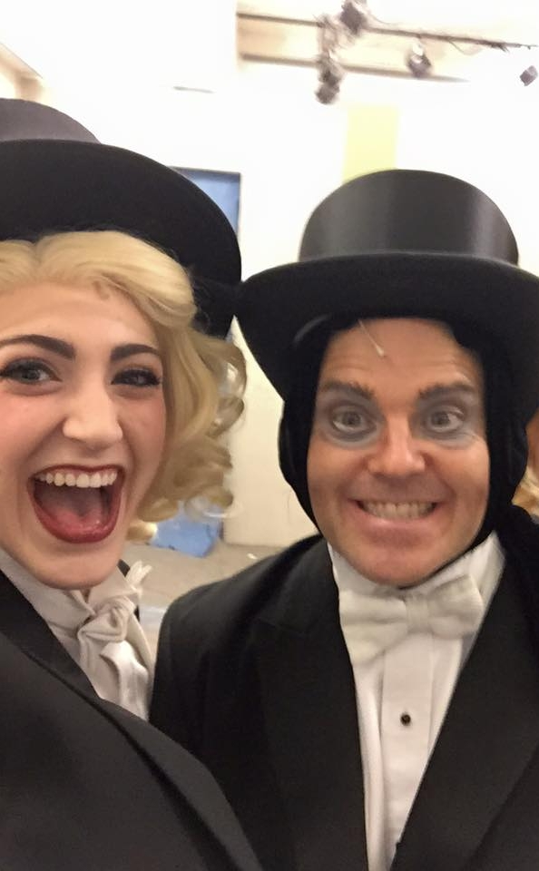 "Michaela getting ready for ""Puttin on the Ritz"" with Broadway's Robert Creighton (Igor) in MSMT's production of  Young Frankenstein"