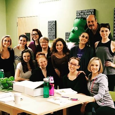 "The gals of  Young Frankenstein,  plus Broadway's David Girolmo, on a ""10"" in the green room at MSMT"