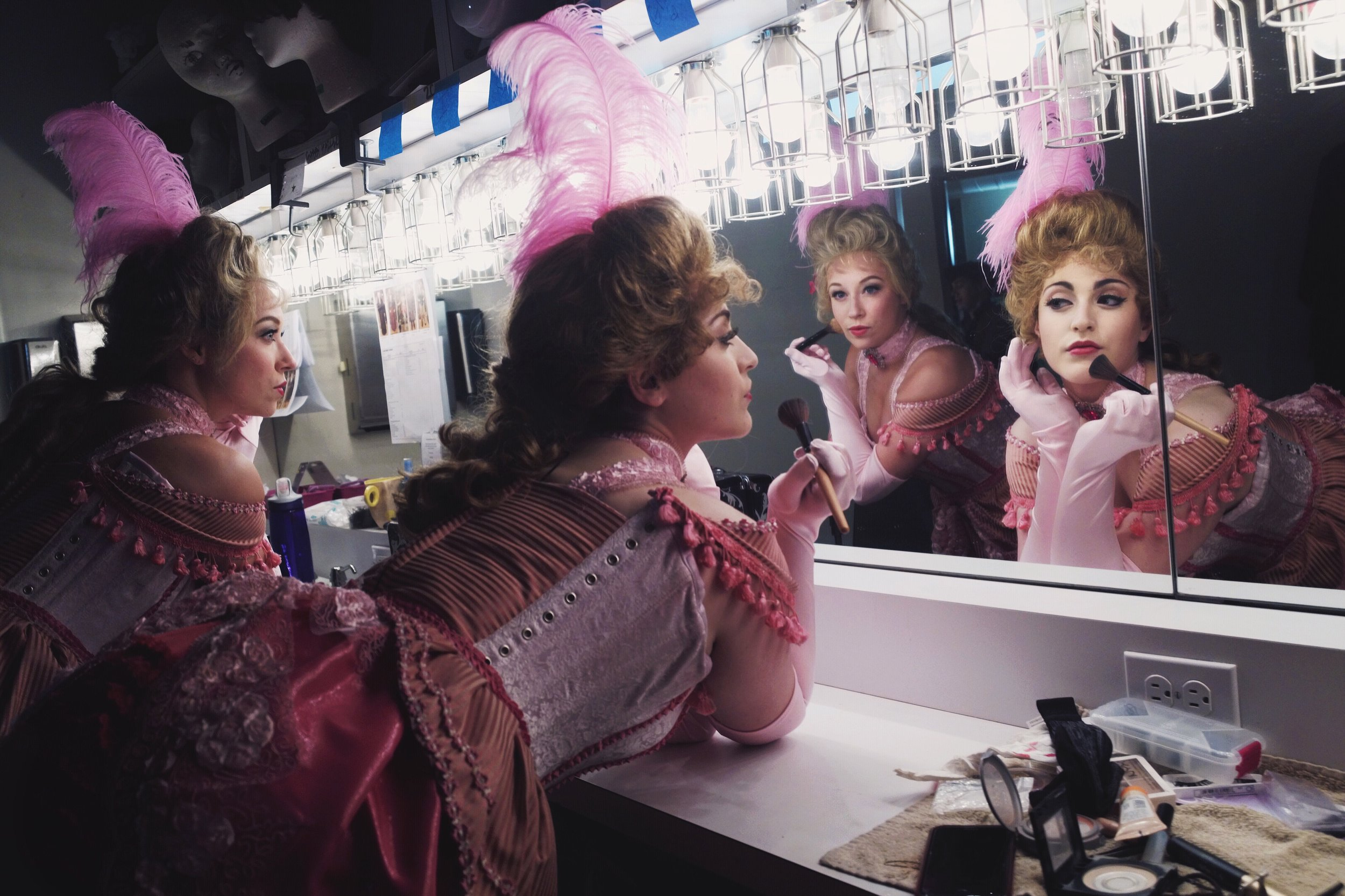 "Backstage at the Fulton Theatre, the Bowery Beauties are making finishing touches before their burlesque act! ""Disney's NEWSIES"" June/July 2017."