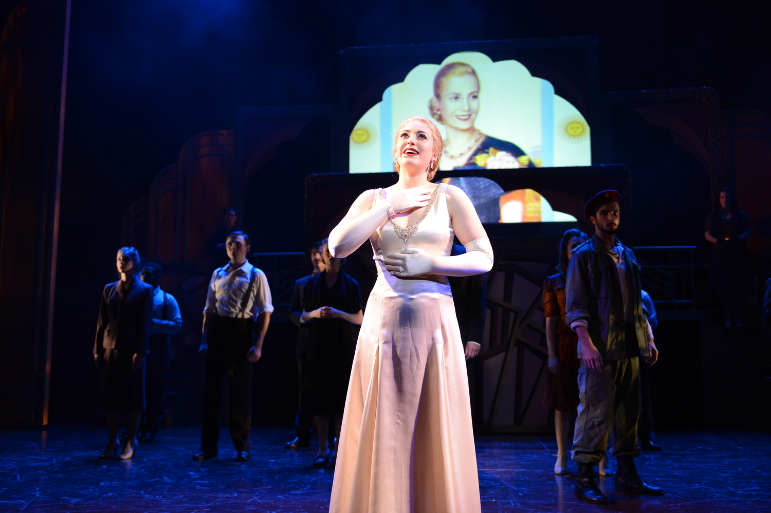 "Michaela as ""Eva"" in EVITA @ TEXAS STATE UNIVERSITY (2015). Photos by Sandra Trevino, courtesy of Texas State Musical Theatre."