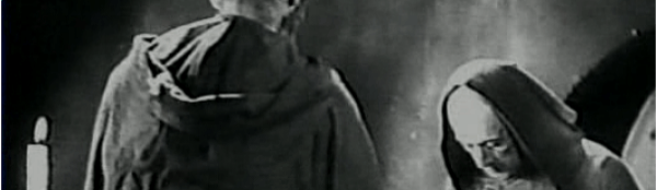 """DOS MONJES  (Juan Bustillo Oro, Mexico, 1934, b&w, 85 min.) Cast: Magda Haller, Víctor Urruchua, Carlos Villatoto, Emma Roldán, Manuel Noriega.  """"Narrating a love triangle involving two monks, Fray Servando and Fray Javier, the film weaves together a story from the conflicting points of views of the two rivals. As Fray Javier gradually goes mad, those parts of the film told from his perspective take on the trappings of German Expressionism, including exaggerated make-up, skewed angles, deep shadows and a crooked, distorted sense of space. Masterfully photographed by Agustín Jiménez, the film was a belated effort to incorporate the styles of a European vanguard into Mexican commercial film."""" —Jesse Lerner, Mexperimental Cinema."""