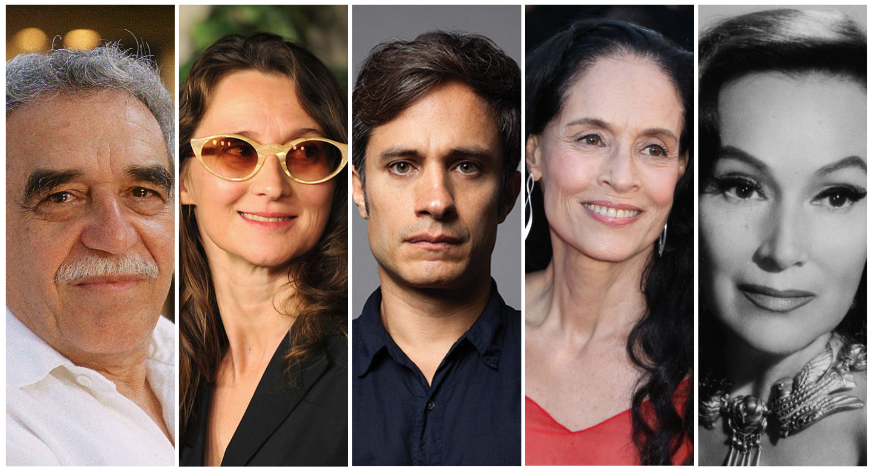 From Left to Right: Gabriel García Márquez, Lucrecia Martel, Gael García Bernal, Sonia Braga, and Dolores del Río.