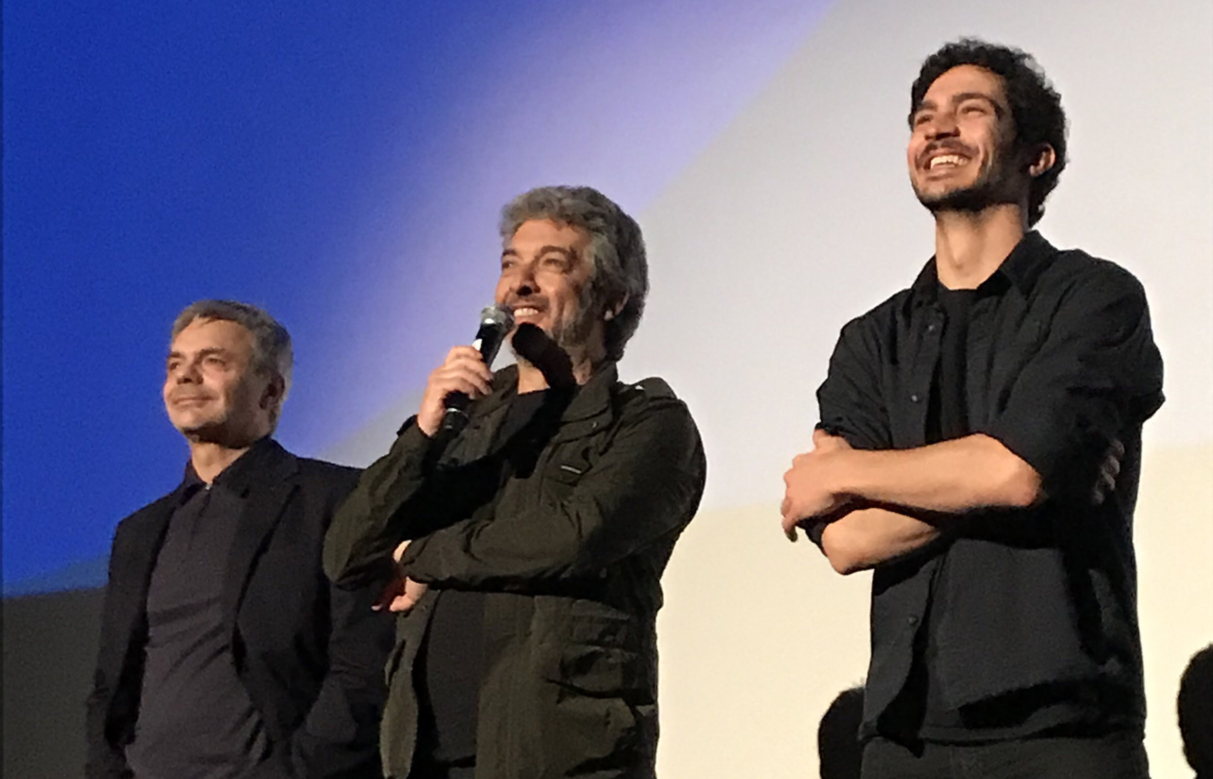 Director Sebastián Borensztein (left) with actors Ricardo Darín (center) and Chino Darín at the international premiere of  Heroic Losers  at the Toronto International Film Festival.