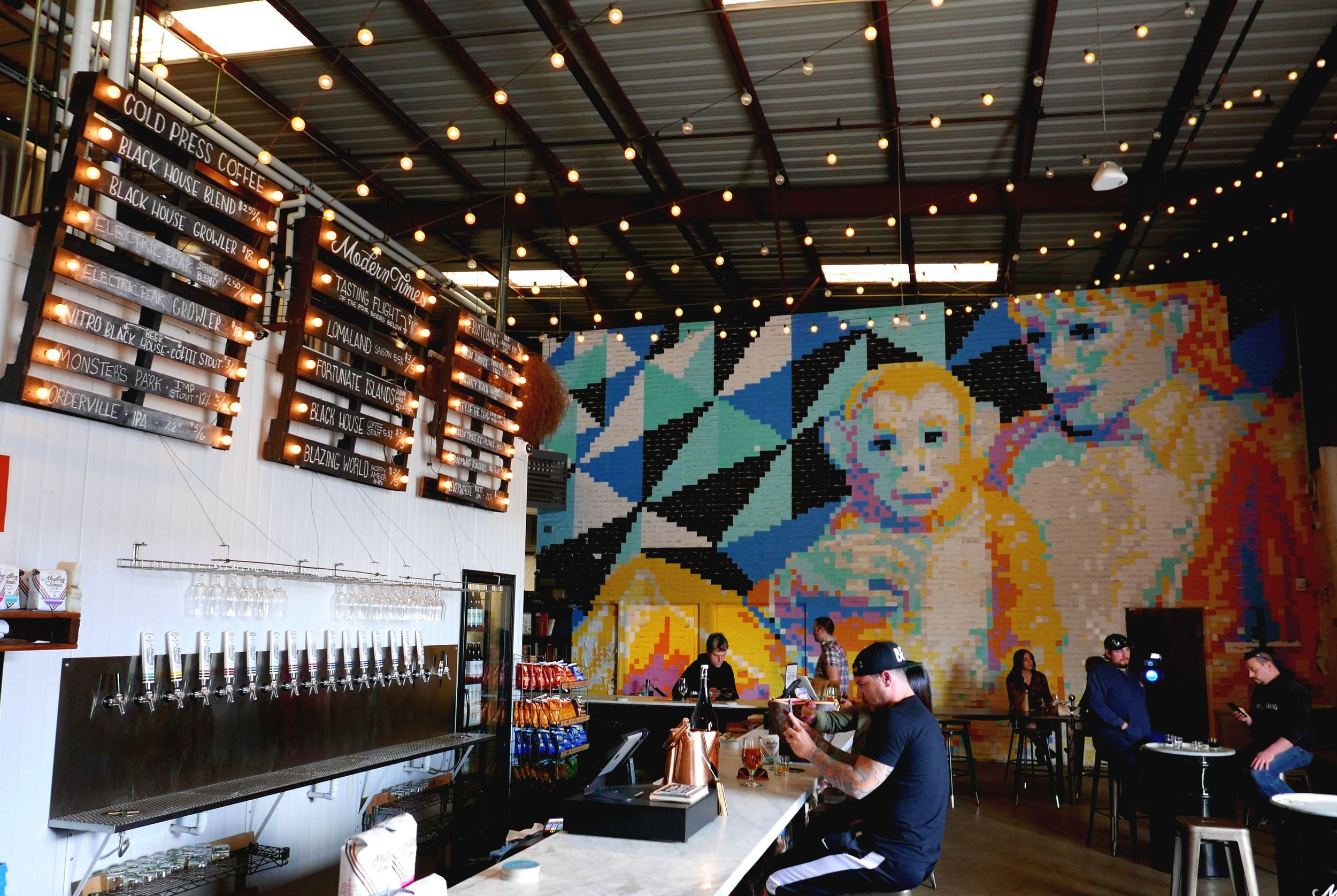 The amazing post-it murial at Modern Times Taproom in San Diego