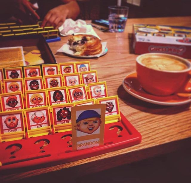 Guess who is busy on Instagram and not having a glass of wine or coffee at Slowpokes while playing Guess Who? 📷: @s.e.squared