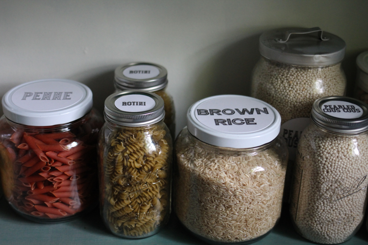 Photo taken just after I filled and labeled all these beautiful jars of dry goods. As mentioned above, all the pasta vanished within days. The copious amounts of pearled cous cous continue to see another day.