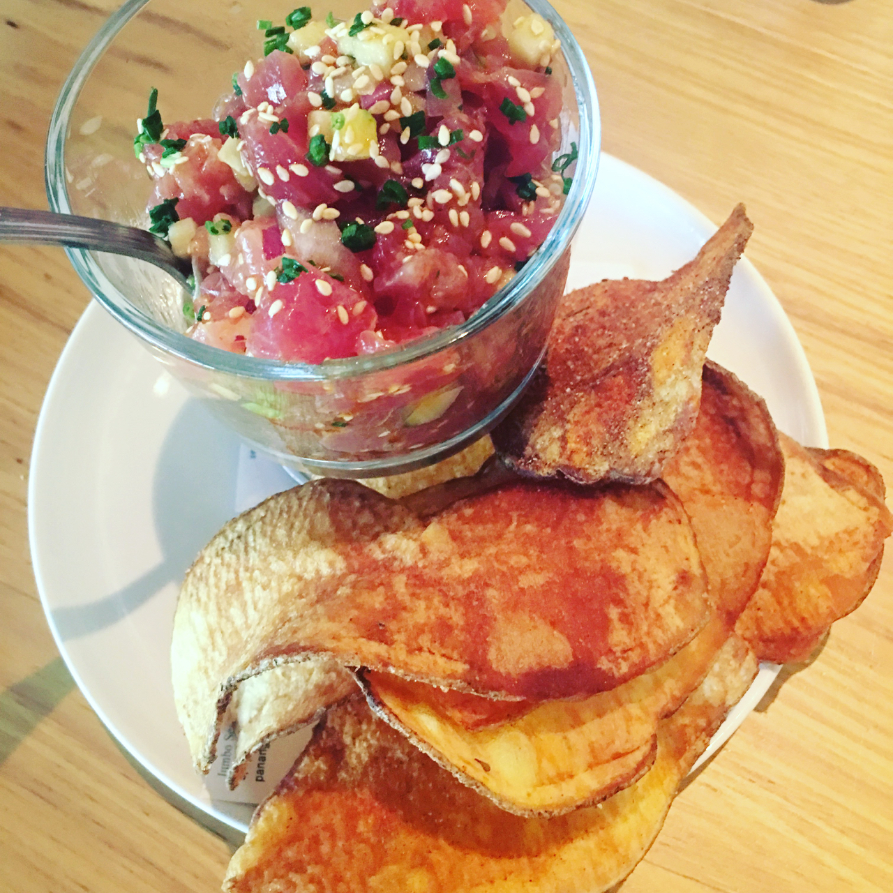 AHI POKE WITH APPLES AND SWEET POTATO CHIPS
