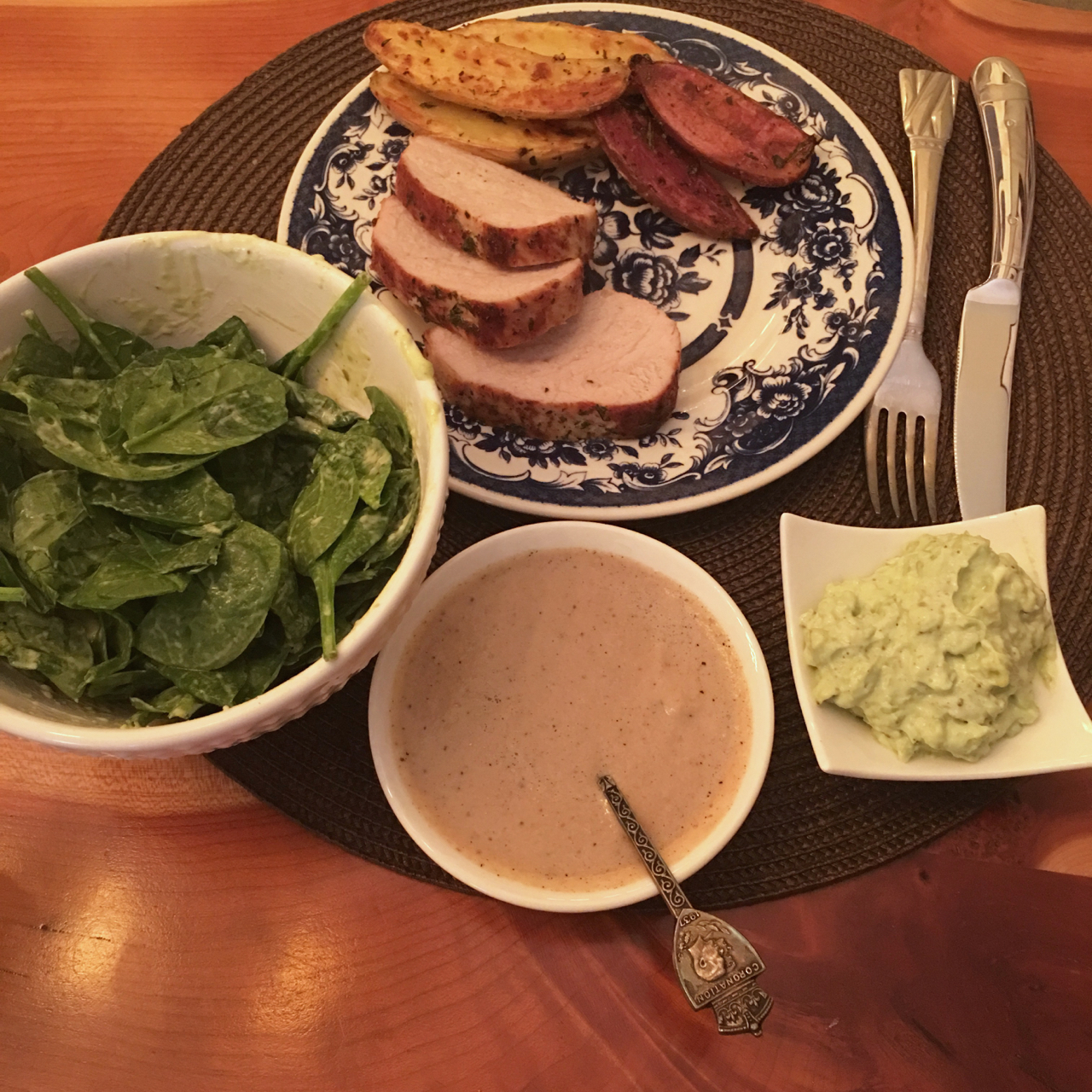 ROASTED PORK TENDERLOIN WITH FINGERLING POTATOES, WHITE GRAVY AND SPINACH SALAD + AVOCADO DRESSING