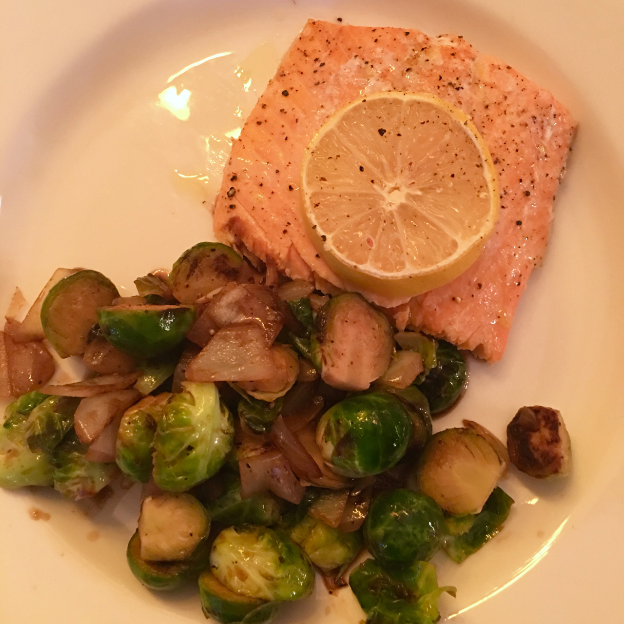ROASTED SALMON WITH SAUTEED BRUSSELS SPROUTS AND ONIONS IN A BALSAMIC GLAZE