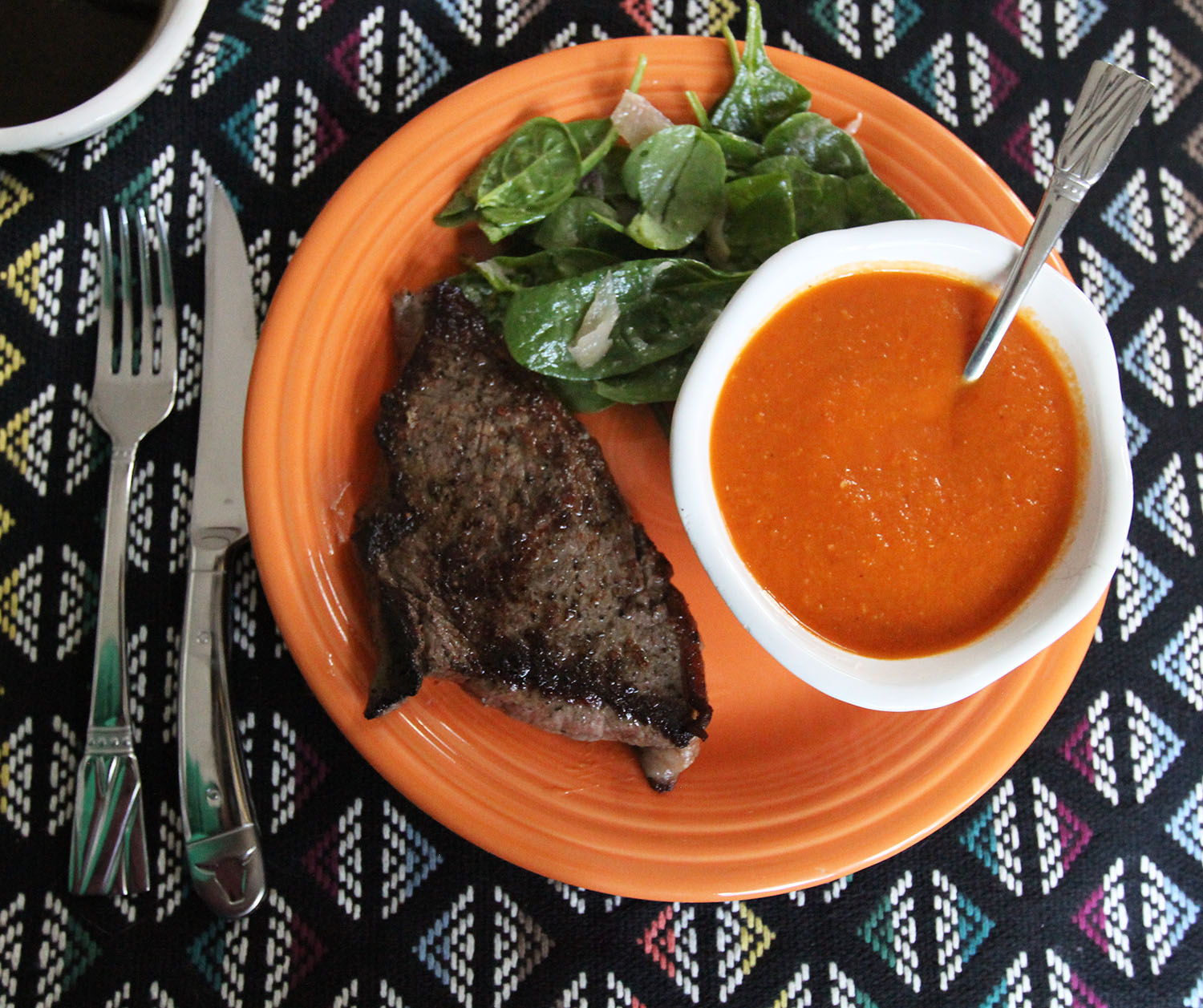SIRLOIN STEAK WITH TOMATO SOUP AND A SPINACH AND SHALLOT SALAD