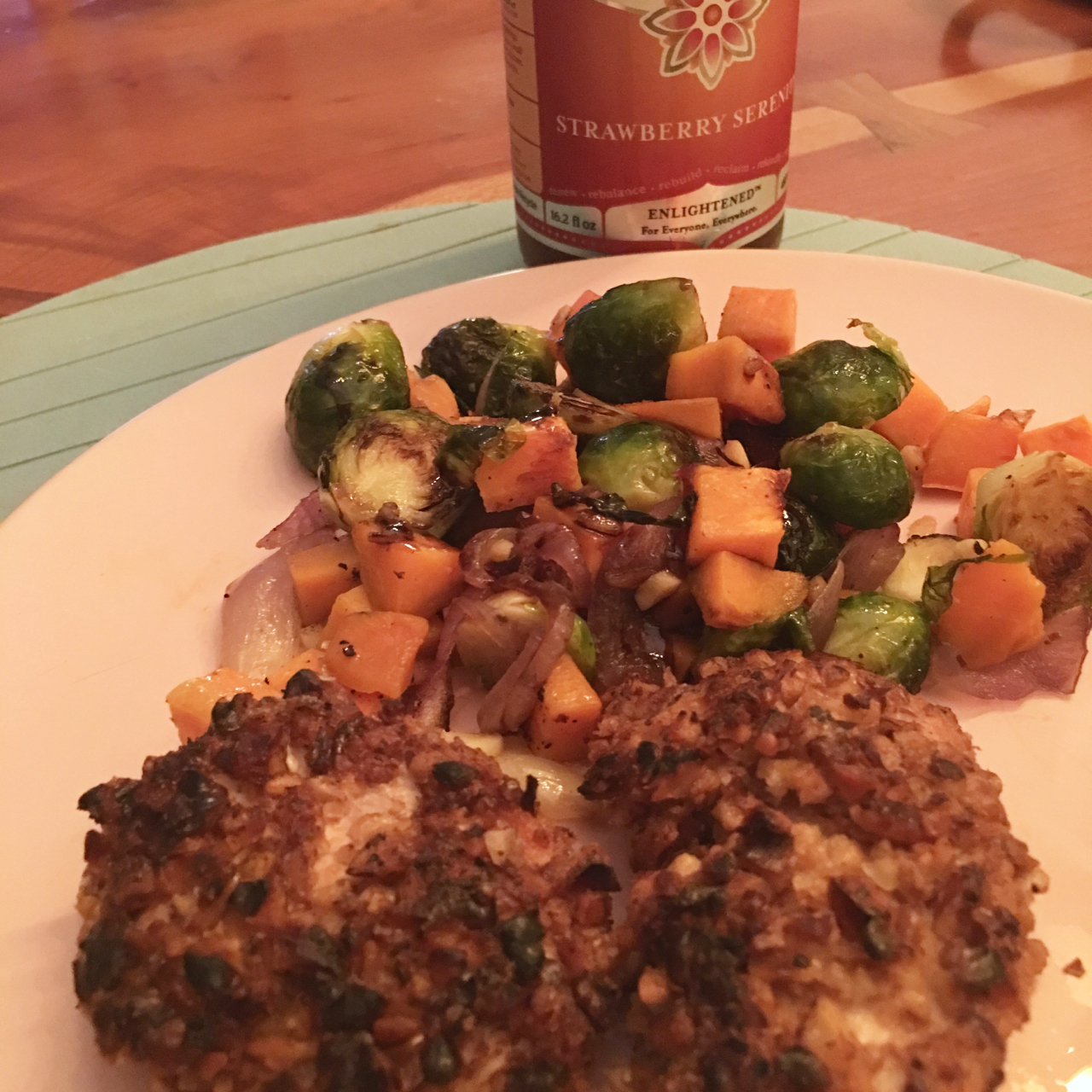 WALNUT CRUSTED CHICKEN BREAST WITH BRUSSELS SPROUTS, BUTTERNUT SQUASH AND RED ONIONS