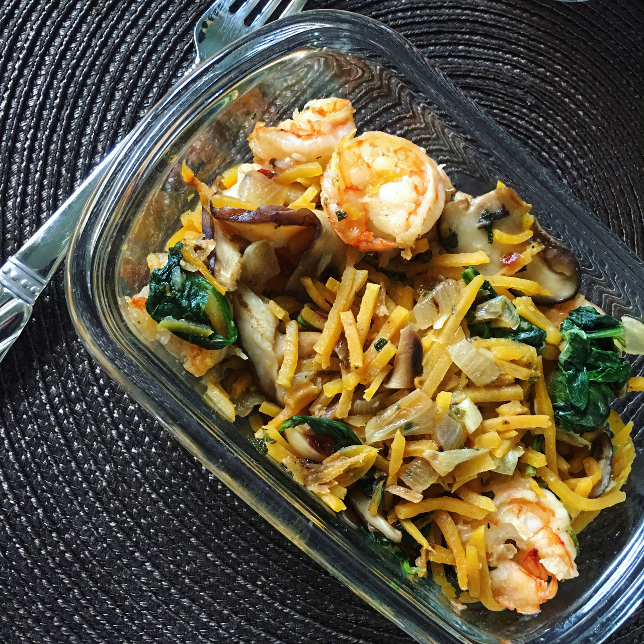 SAUTEED SHRIMP WITH BABY SPINACH, SHIITAKE MUSHROOMS AND BUTTERNUT SQUASH NOODLES IN A GARLIC AND SHALLOT SAUCE