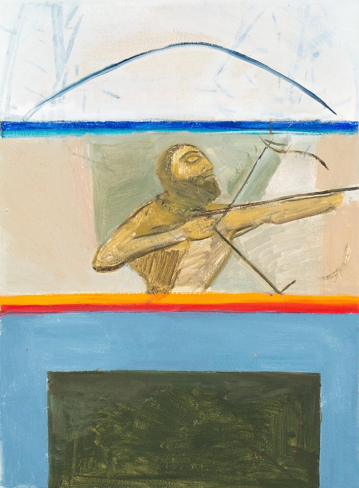 "- Leyla Rzayeva""Archer""2019Oil on Paper9 x 12 in / 22 X 30 cm"