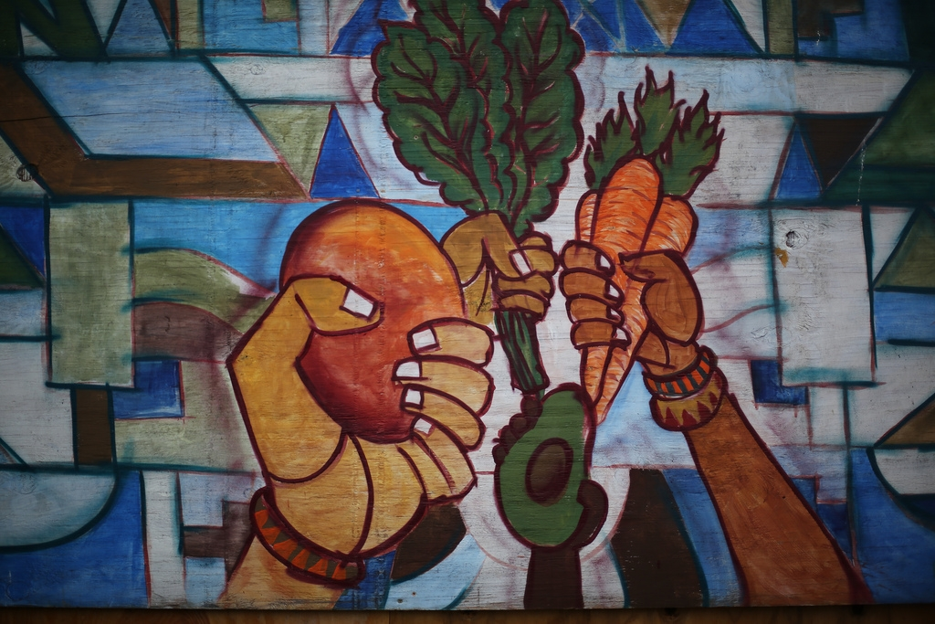 Food Justice mural from People's Grocery, West Oakland.
