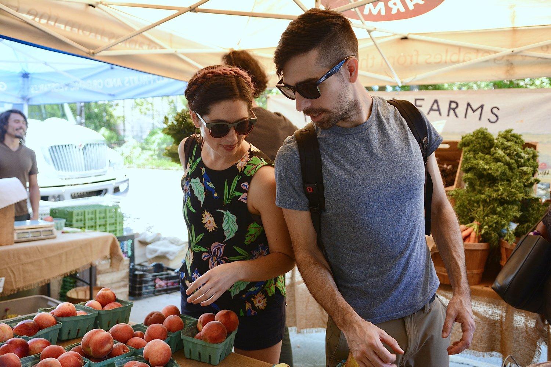 Caroline & Trey nosing around the farmers market. Photo credit:  Blair Beyda Photography