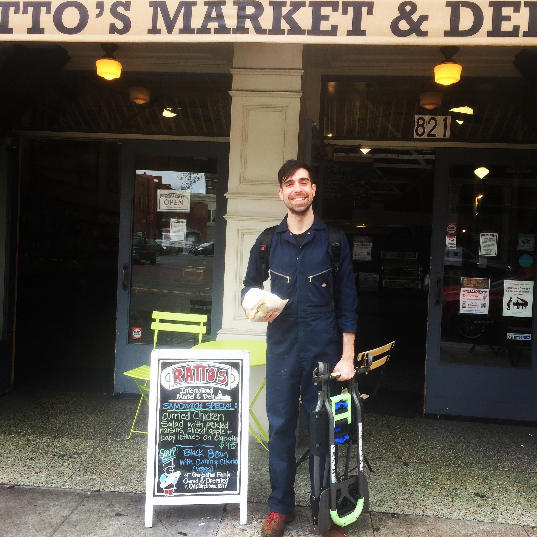 Trey post-delivery, pre-sandwich at Ratto's International Market & Deli in Old Oakland.