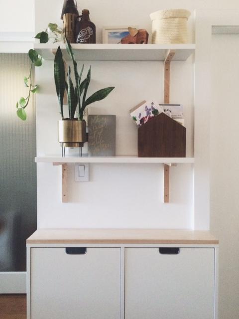 House Mail Holder:  Ferm Living , Brass Planter: Urban Outfitters, Shelf Brackets: Amazon.com (Sold Out), Shelves: Ikea Print:  @MakingType