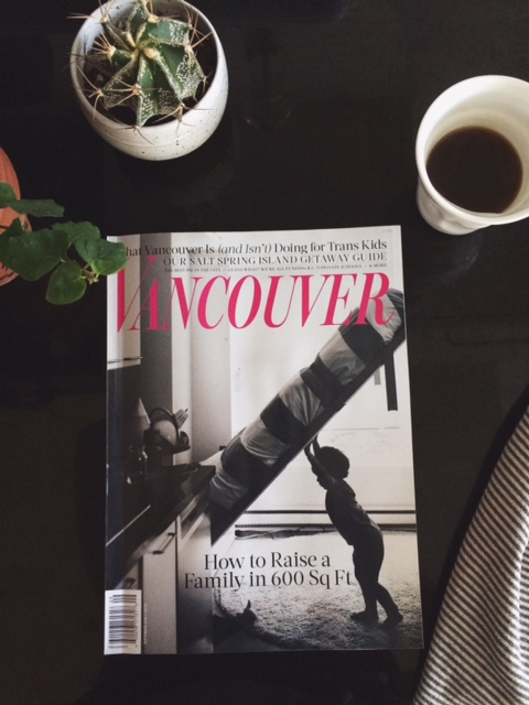 Vancouver Magazine with our shadow boy, looking like he is putting the bed away himself (I'm behind him)