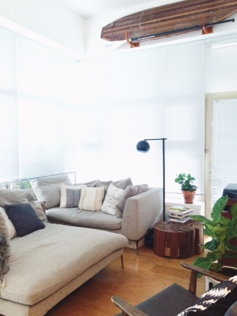Our Rug-less living room