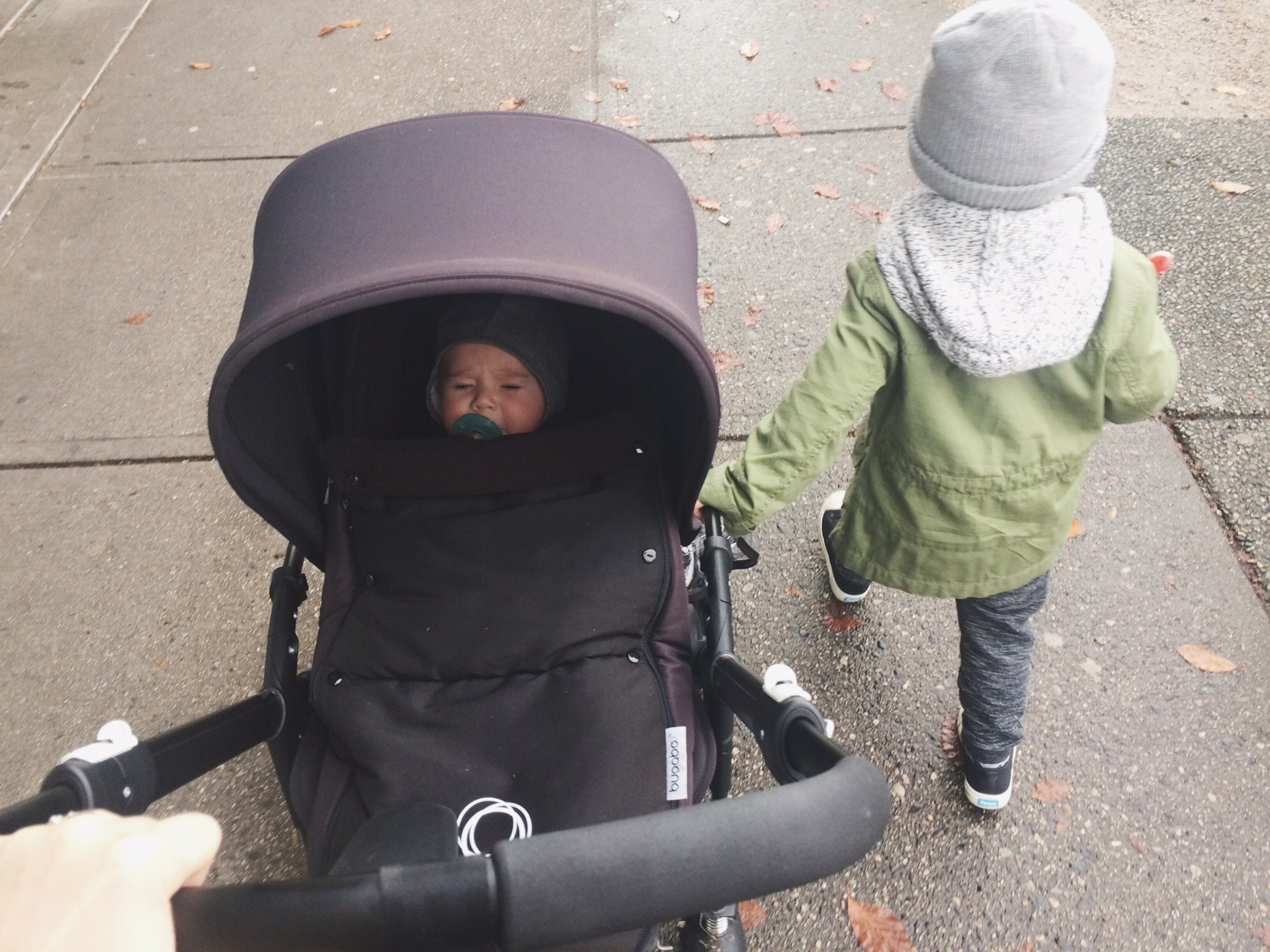 Us out with the Bugaboo Bee (Mae not realizing how lucky she is to be in such a nice stroller)