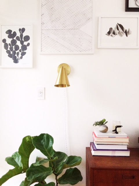 Cedar and Moss Tilt Cone Sconce , Silke Bonde Print from  Gron and White