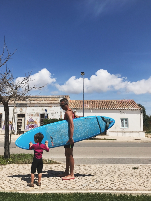 Board rental and a pink shorty wetsuit in Sagres (the water is cold!)