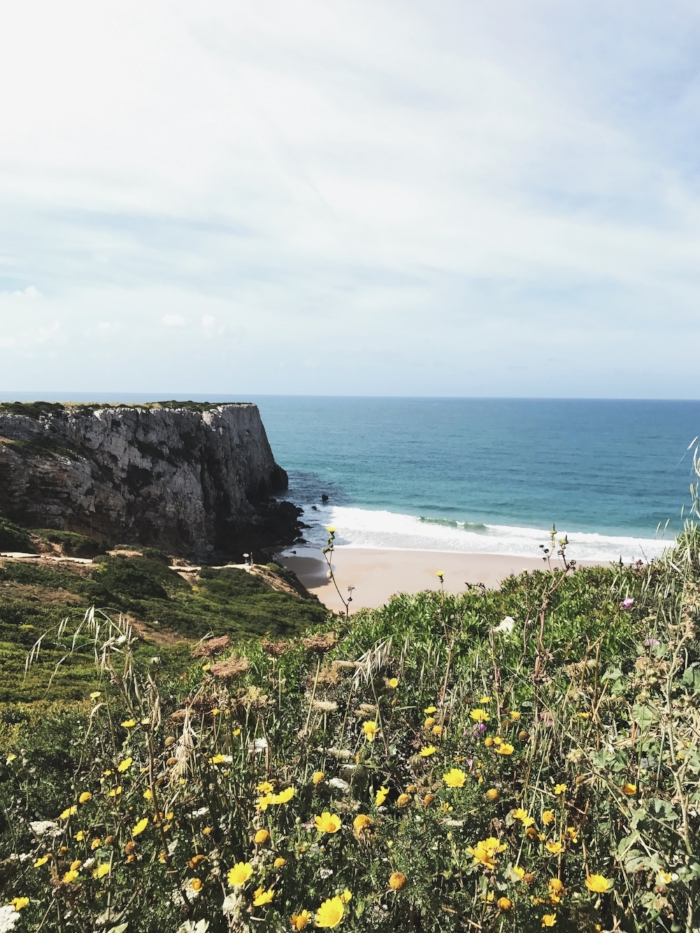 Beach at Sagres that Theo and Trevor surfed at and I hung out with Mae and made sure she didn't eat too much sand