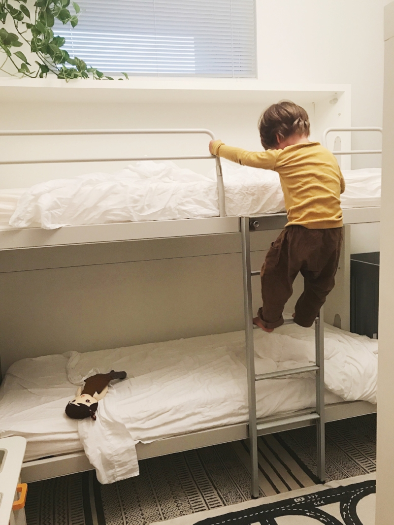 Theo demonstrating how to safely get down from the top bunk. yay!
